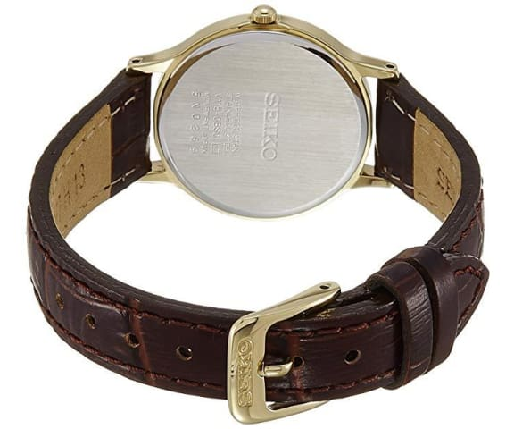 SEIKO SUP302P1 Solar Analog Leather Brown & Gold Dial Womens Watch