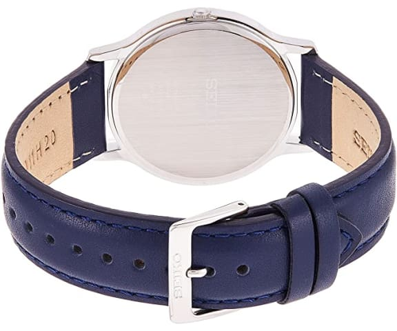 SEIKO SUP857P1 Solar Analog Leather Blue & White Dial Unisex Watch