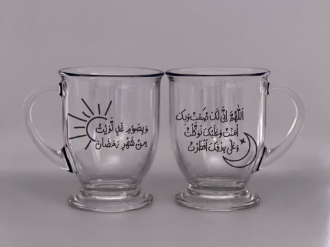 Sahoor and Iftar Glass Café Mugs Set Of 2 - Arabic - Henna Dil Se
