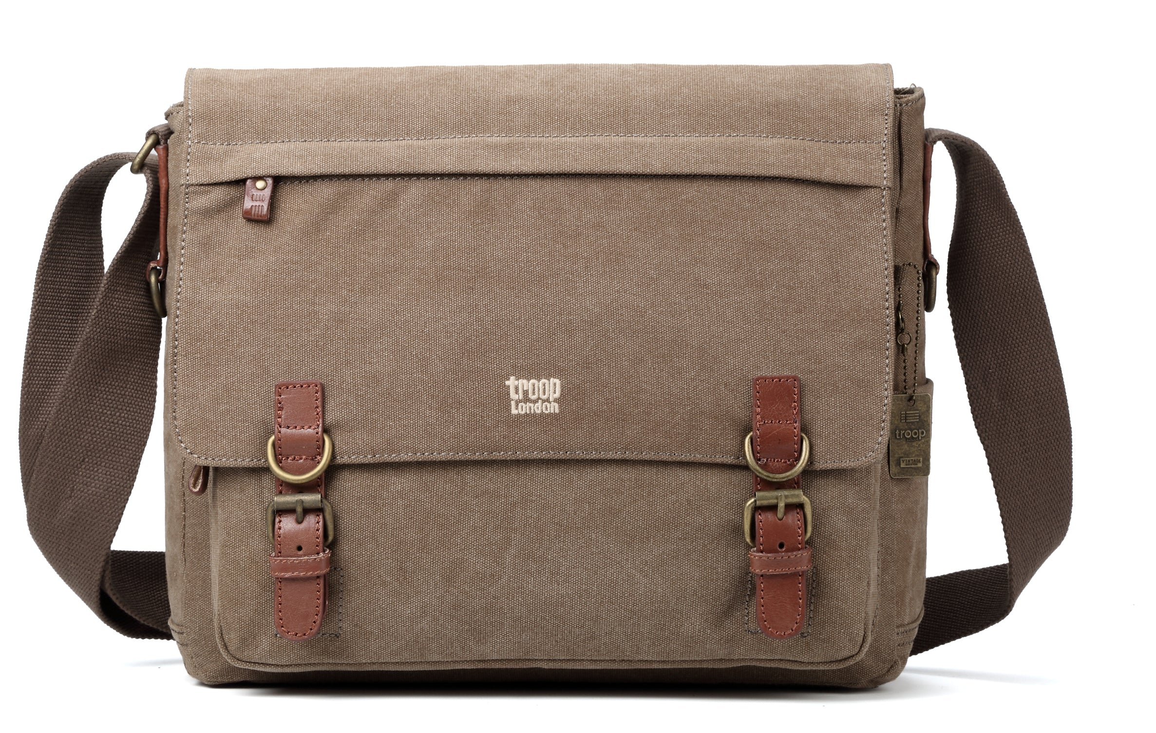 693b60246df3 Troop London Canvas Messenger Bag Fits Up To 17 Inch Laptop Size Large  TRP0207 Brown