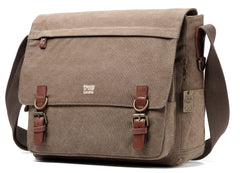 Troop London Canvas Messenger Bag Fits Up To 17 Inch Laptop Size Large TRP0207 Brown