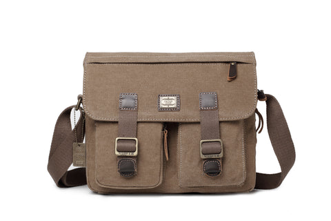 Troop London Heritage Canvas Messenger Across Shoulder Bag Size Small TRP0271 Brown