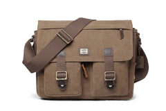 Troop London Heritage Medium Canvas Messenger Bag TRP0270 Brown