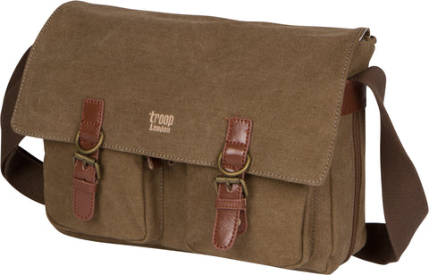 Troop London Canvas Messenger Bag Fits Up To 14 Inch Laptop Size Medium TRP0210 Brown