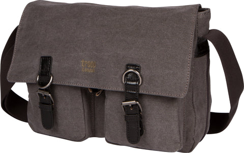 Troop London Canvas Messenger Bag Fits Up To 14 Inch Laptop Size Medium TRP0210 Black
