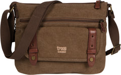 Troop London Canvas Classic Small Messenger Across Body Shoulder Bag TRP0369 Brown