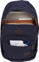 Troop London Canvas Backpack Fits 15.5 Inch Laptop Notebook Size Large TRP0384 Navy