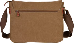 Troop London Canvas Messenger Bag Fits Up To 15 Inch Laptop Size Medium TRP0240 Brown