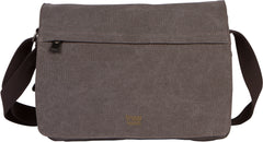Troop London Canvas Messenger Bag For Tablets Leather Trims Size Small TRP0241 Black