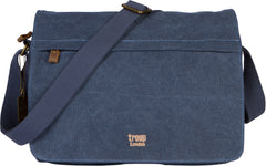 Troop London Canvas Messenger Bag For Tablets Leather Trims Size Small TRP0241 Blue