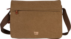 Troop London Canvas Messenger Bag For Tablets Leather Trims Size Small TRP0241 Brown