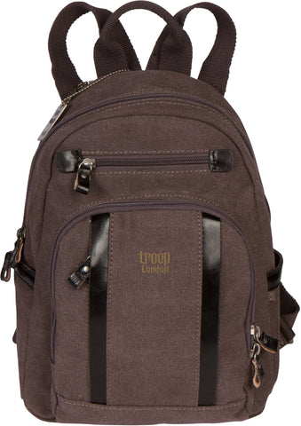 Troop London Canvas Backpack Leather Trims With Many Pockets Size Small TRP0255 Black