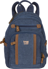 Troop London Canvas Backpack Leather Trims With Many Pockets Size Small TRP0255 Blue