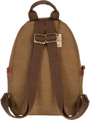 Troop London Canvas Backpack Leather Trims With Many Pockets Size Small TRP0255 Brown