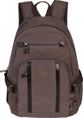 Troop London Canvas Backpack Leather Trims With Many Pockets Size Medium TRP0256 Black