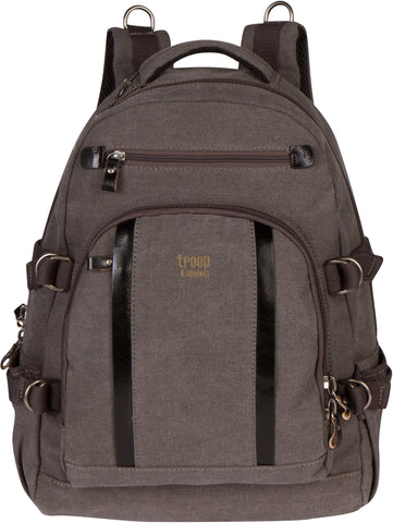 Troop London Canvas Backpack Leather Trims With Many Pockets Size Medium TRP0257 Black