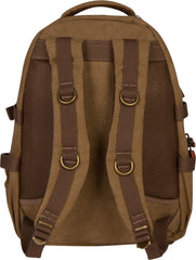 Troop London Canvas Backpack Leather Trims With Many Pockets Size Medium TRP0257 Brown