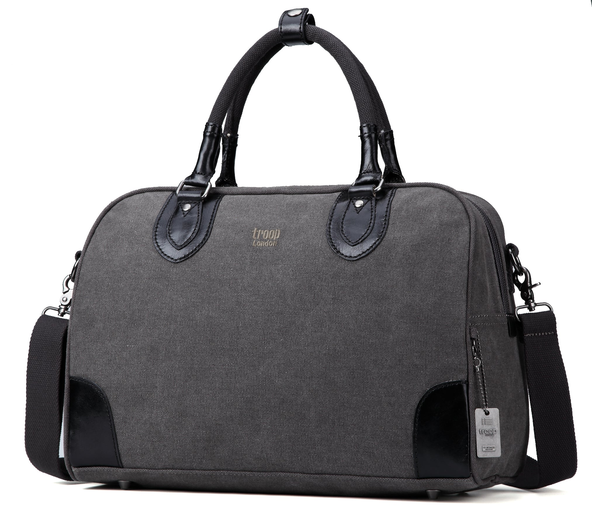 Troop London Classic Canvas Holdall Top Handle Gym Bag TRP0262 Black