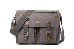 Troop London Heritage Medium Canvas Messenger Bag TRP0270 Black