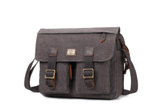 Troop London Heritage Canvas Messenger Across Shoulder Bag Size Small TRP0271 Black