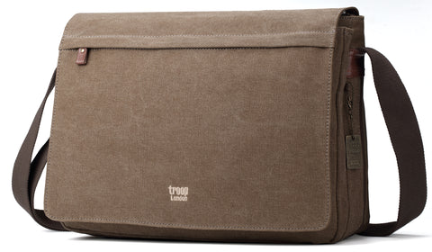 Troop London Canvas Messenger Bag Fits Up To 17 Inch Laptop Size Large TRP0371