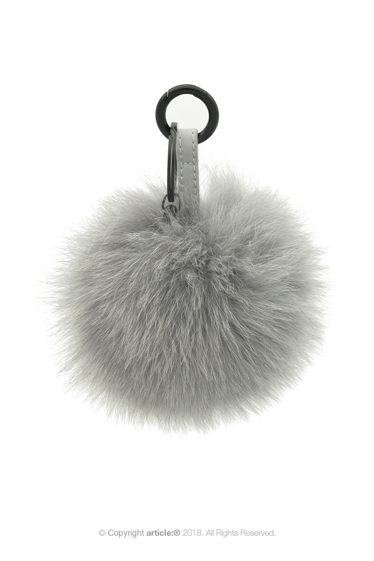 article: #400 Bag Charm / Keyring Pom Pom - Gris