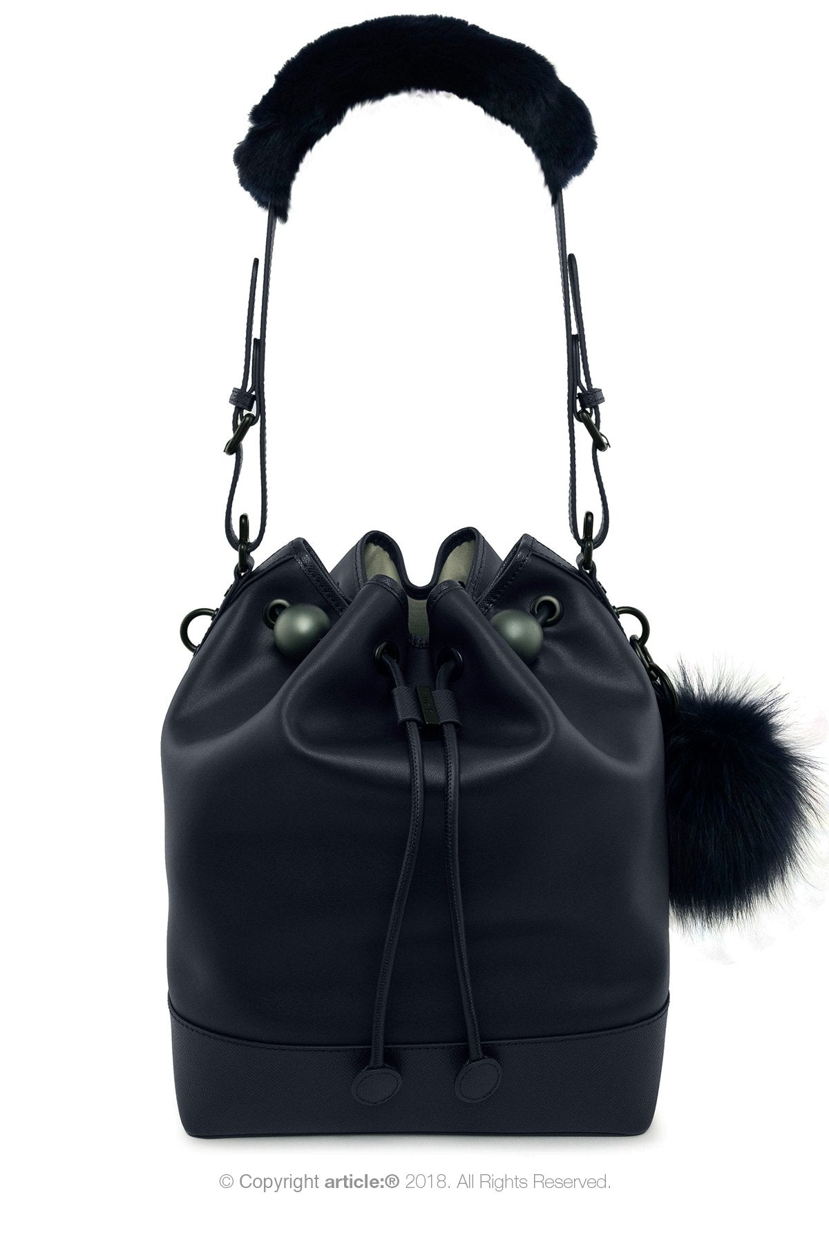 article: #400 Bag Charm / Keyring Pom Pom - Noir