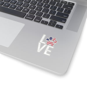 Patriotic Love Paw White Decal