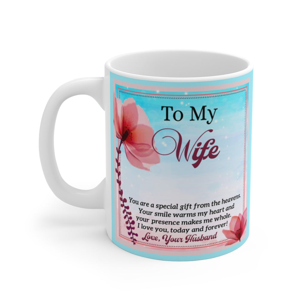 Husband to Wife Gift From The Heavens White Ceramic Mug