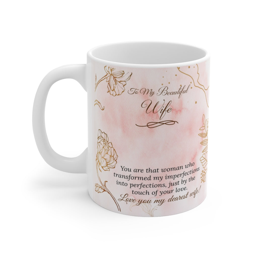 Husband to Wife Imperfections to Perfections White Ceramic Mug
