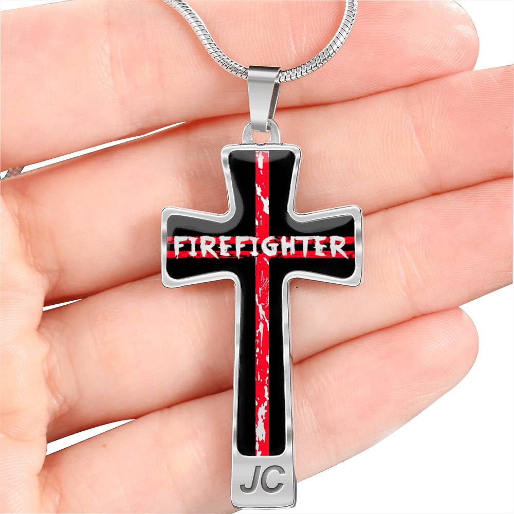 Firefighter Red Line Cross Necklace