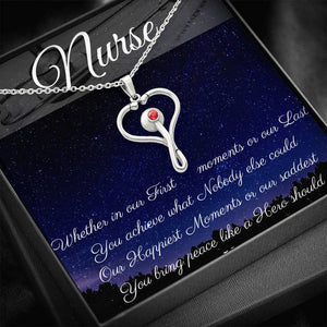 Nurse Stethoscope Thank You Stainless Steel Necklace with Unique Moments Poem