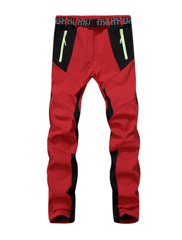 Inner Fleece Patchwork Windproof Pants