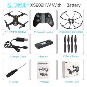 DOOLNNG XS809HW XS809W Mini Drone Camera Foldable Quadcopter Drones With Camera HD WiFi FPV  Altitude Hold RC Helicopter