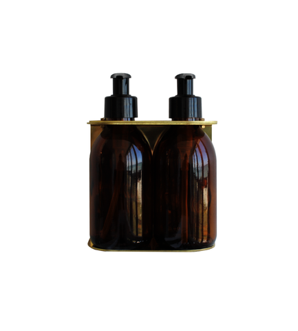 Brass Double Dispenser with Amber bottle (200ml)