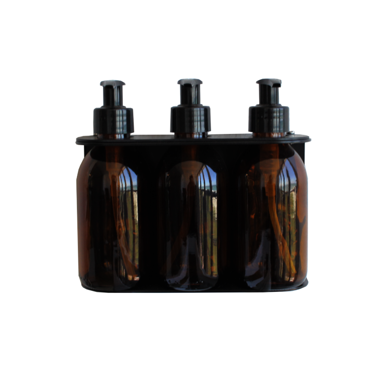 Triple Dispenser with Amber bottles (200ml)