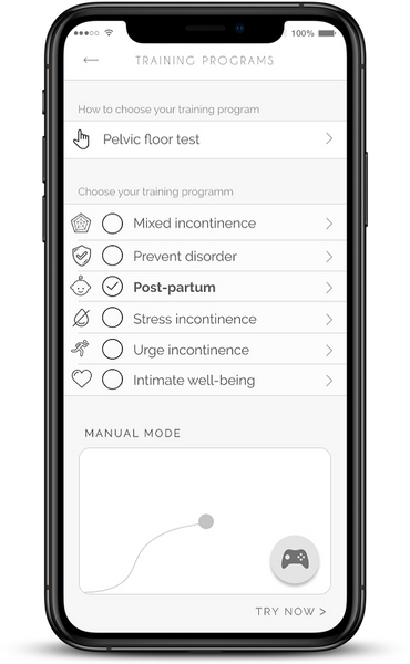 training programs of the kegel exercises app Perifit on an iPhone X