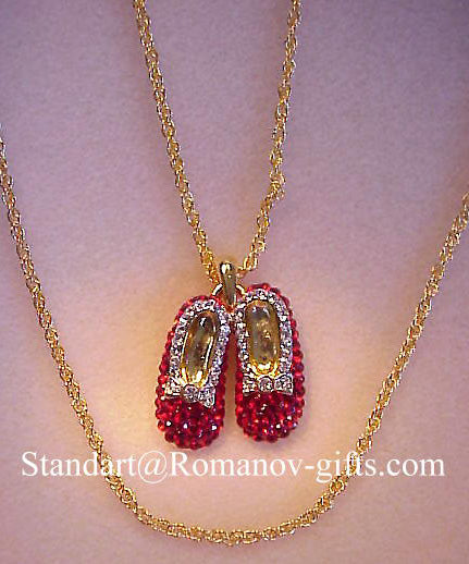 Wizard of Oz Ruby Slippers Pendant Necklace