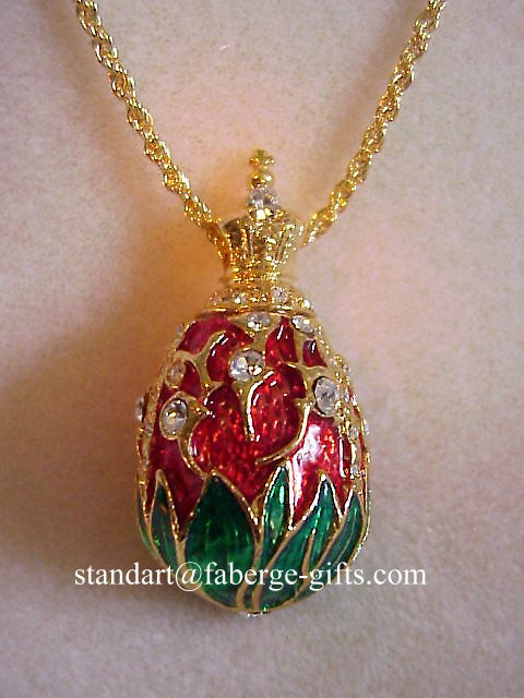Royal Tsar Ruby Red Lily of the Valley Egg Pendant Necklace