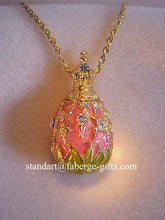 Royal Tsar Peach Lily of the Valley Egg Pendant Necklace