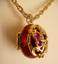 Russian Imperial Red Floral Egg Locket Necklace with Inner Cherub