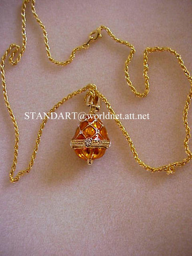 Royal Princess Anastasia Amber Egg Pendant Necklace