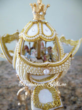 Russian Imperial White Musical Animated Hidden Carousel Egg Collectible with Pendant Necklace