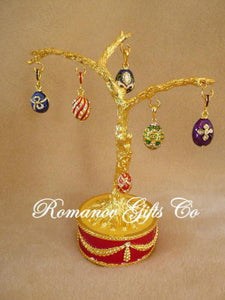 Russian Imperial Musical Egg Tree with Egg Pendants & Necklace