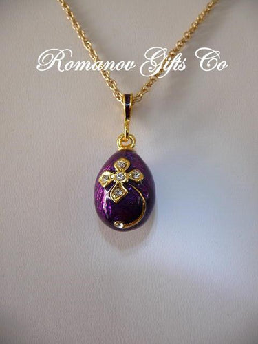 Grand Duchess Tatiana Purple Floral Egg Pendant Necklace