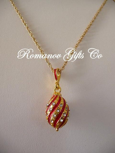 Empress Alexandra Red Scroll Egg Pendant Necklace