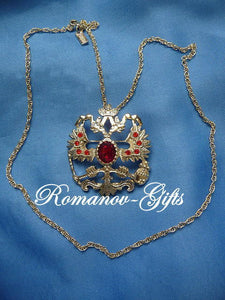 Russian Imperial Empress Alexandra Double Eagle Ruby Dual Necklace & Brooch