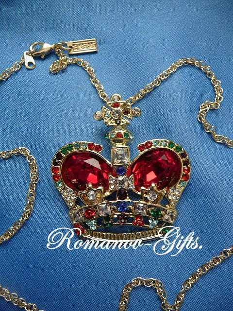Russian Imperial Empress Alexandra Ruby Crystal Crown Pendant Necklace