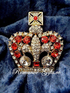 Imperial State Crown of Queen Victoria Brooch with Ruby Crystals