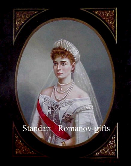 Russian Imperial  Oil Painting Czarina Empress Alexandra Romanov  signed